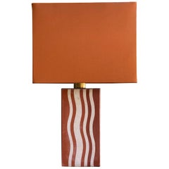 Table Lamp Finished with 1930s Terracotta Art Deco Tiles, Off-White and Brick