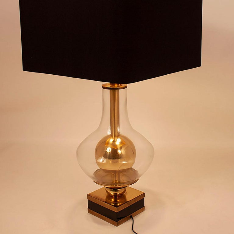 Mid-Century Modern Lumica Midcentury Golden Brass and Glass Table Lamp with Black Shade, 1970s For Sale