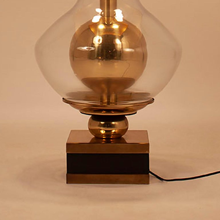 Spanish Lumica Midcentury Golden Brass and Glass Table Lamp with Black Shade, 1970s For Sale