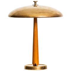 Table Lamp in Ash and Brass Produced in Sweden