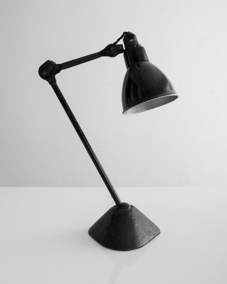 Modern Table Lamp in Black Metal with Triangular Base by Bernard-Albin Gras, 1920s For Sale