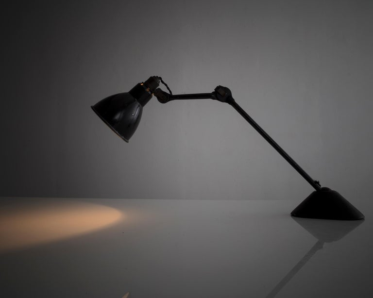 Table Lamp in Black Metal with Triangular Base by Bernard-Albin Gras, 1920s In Fair Condition For Sale In New York, NY