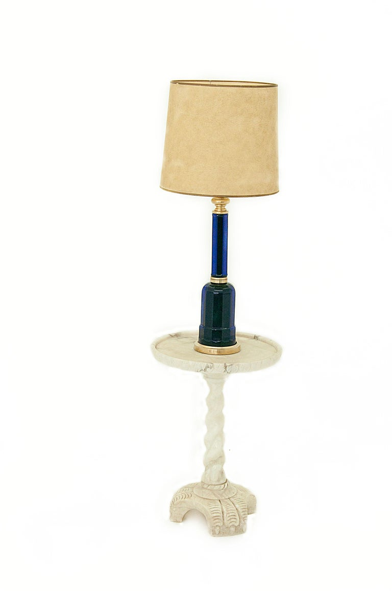 Table Lamp in Blue Glass and Brass, Large, 1970, in the Murano Style In Good Condition For Sale In Auribeau sur Siagne, FR
