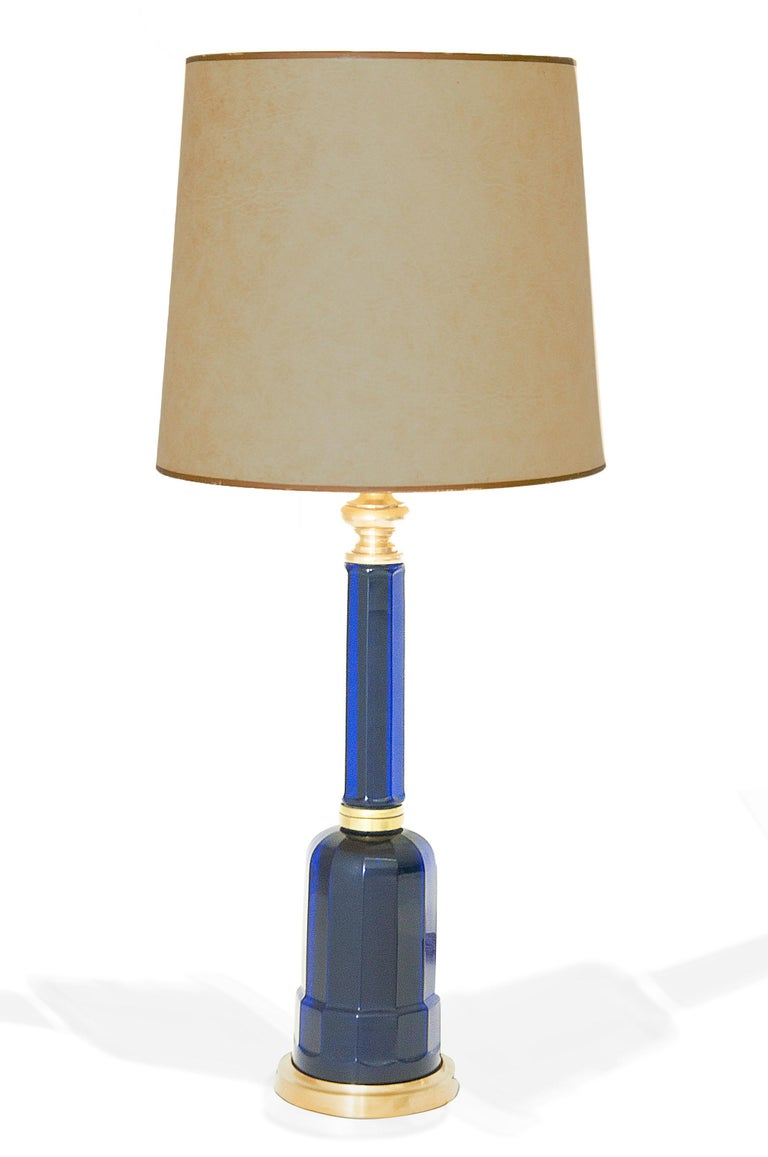 Late 20th Century Table Lamp in Blue Glass and Brass, Large, 1970, in the Murano Style For Sale