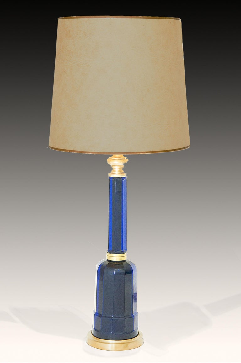 Art Glass Table Lamp in Blue Glass and Brass, Large, 1970, in the Murano Style For Sale