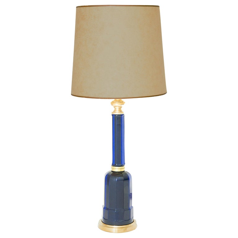 Table Lamp in Blue Glass and Brass, Large, 1970, in the Murano Style For Sale