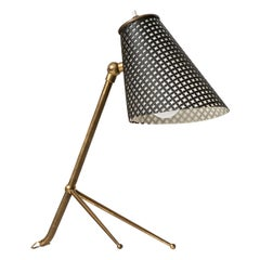 Table Lamp in Brass and Black Lacquer Produced in Denmark