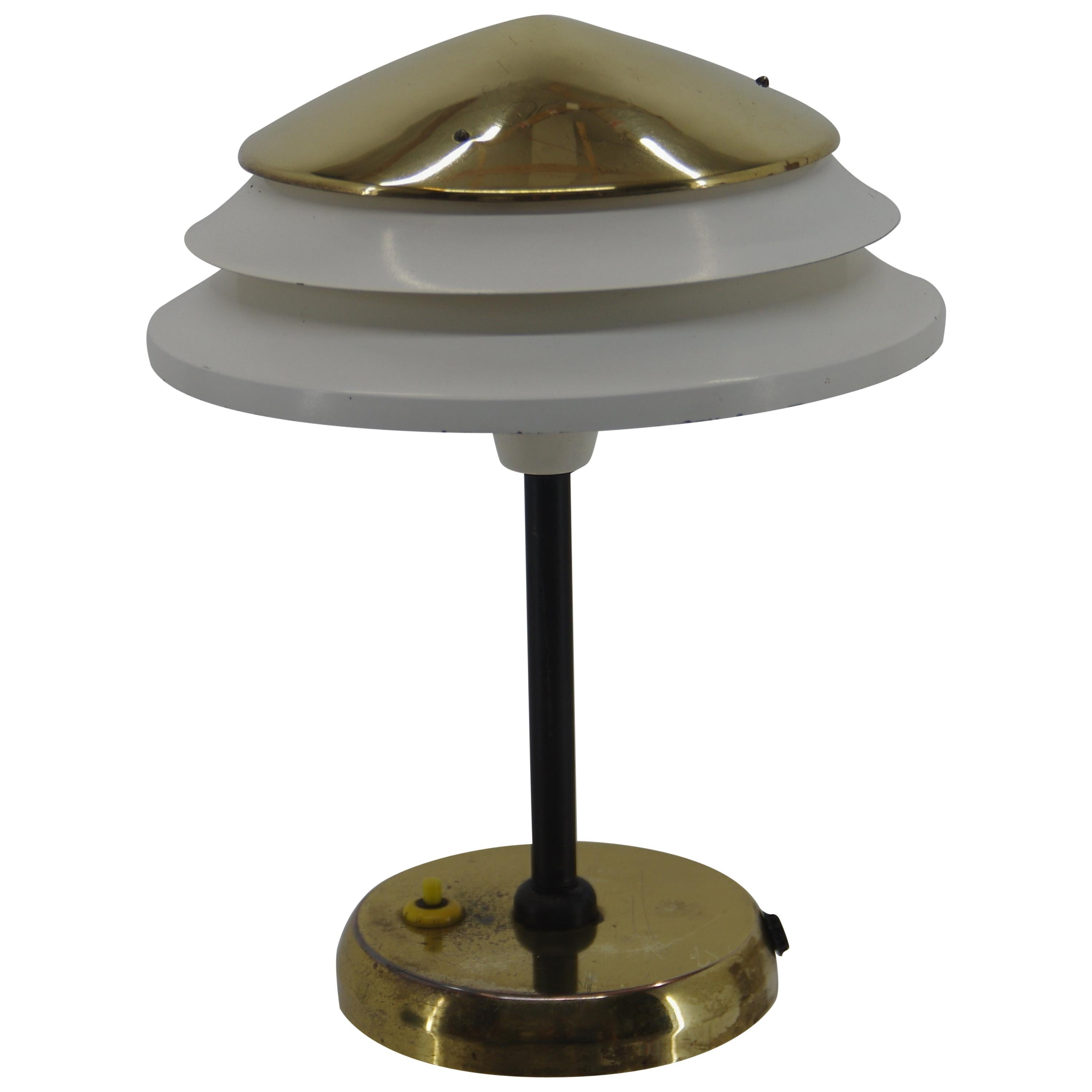 Table Lamp in Brass and Metal by Zukov, Czechoslovakia, 1950s