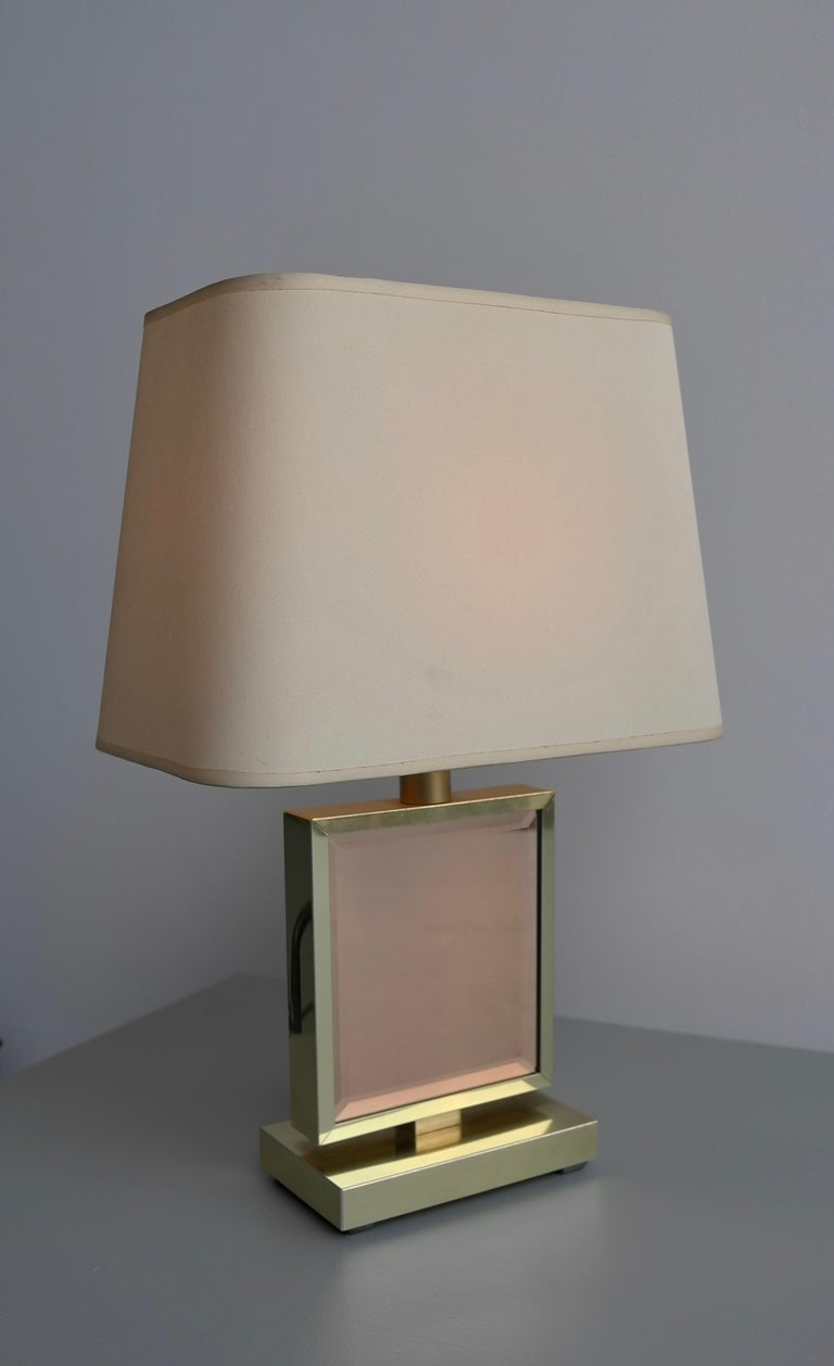 Table Lamp in Brass and Pink Glass, France, 1970s 4