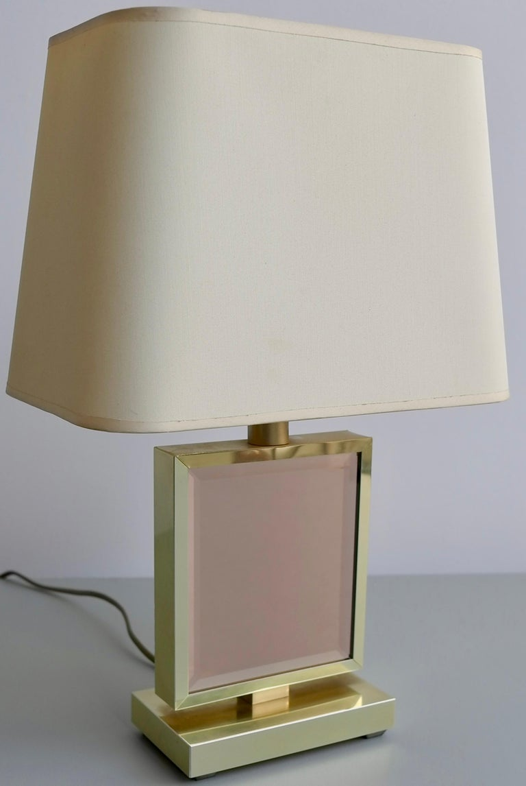 Table lamp in brass and pink glass, France, 1970s.