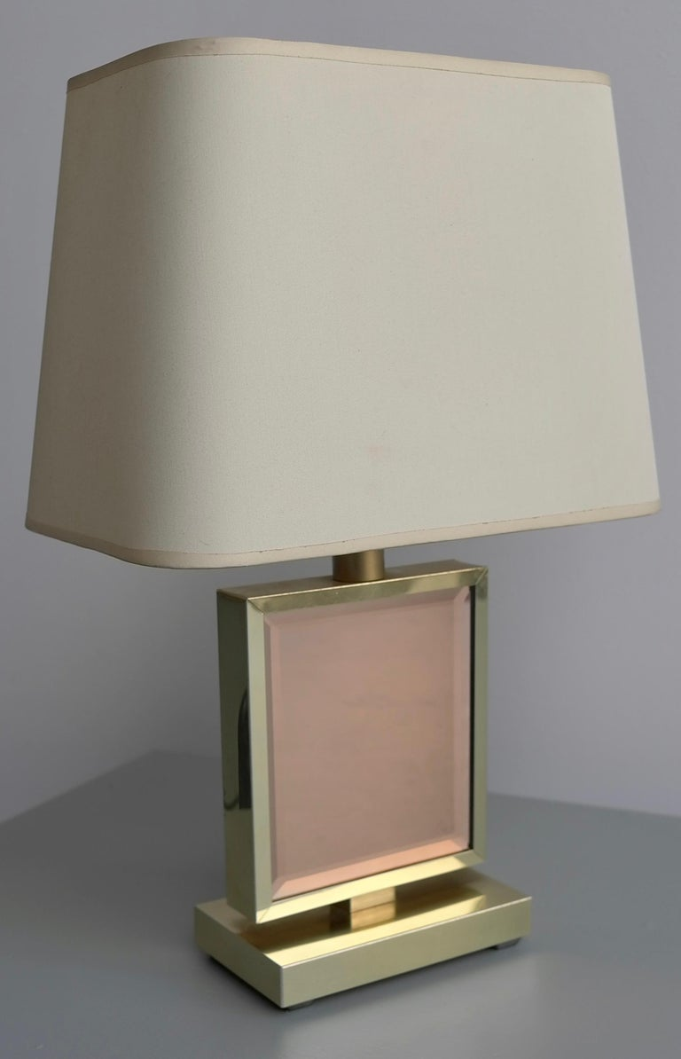 Mid-Century Modern Table Lamp in Brass and Pink Glass, France, 1970s