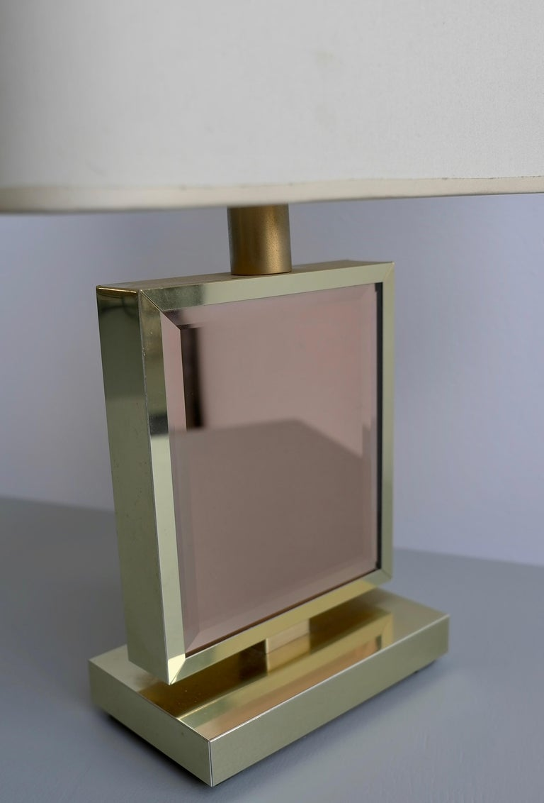 European Table Lamp in Brass and Pink Glass, France, 1970s