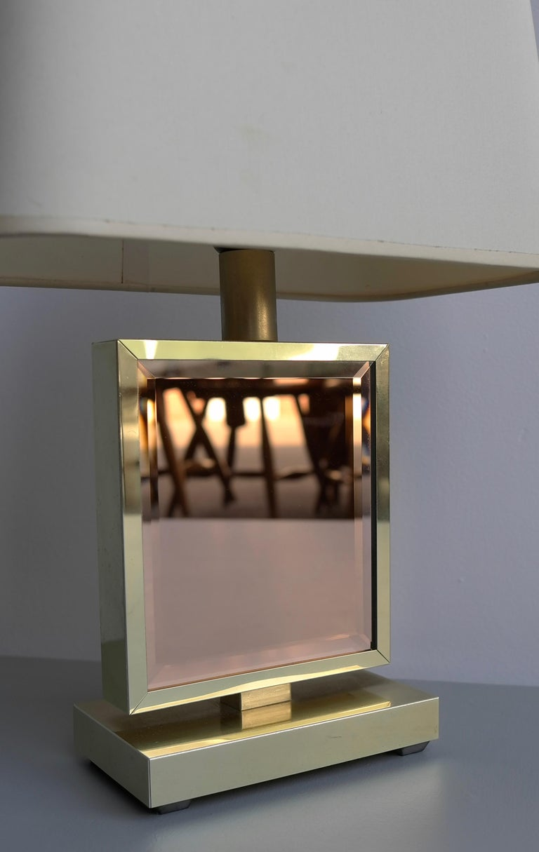 Table Lamp in Brass and Pink Glass, France, 1970s In Good Condition In The Hague, NL