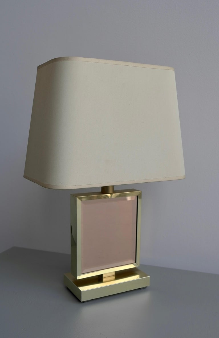 Mid-20th Century Table Lamp in Brass and Pink Glass, France, 1970s