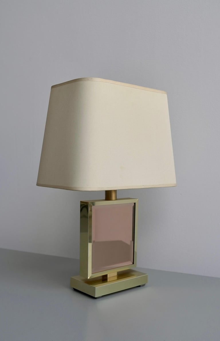 Table Lamp in Brass and Pink Glass, France, 1970s 1