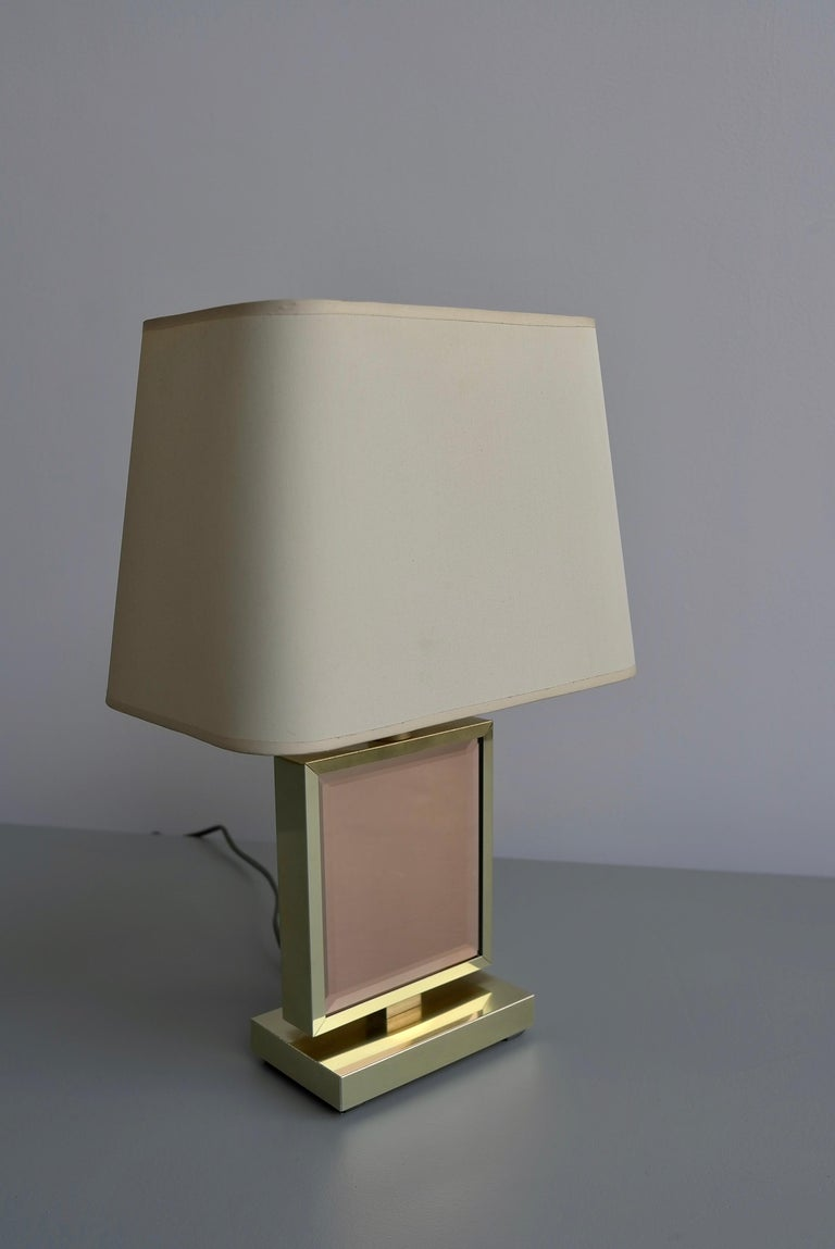 Table Lamp in Brass and Pink Glass, France, 1970s 2