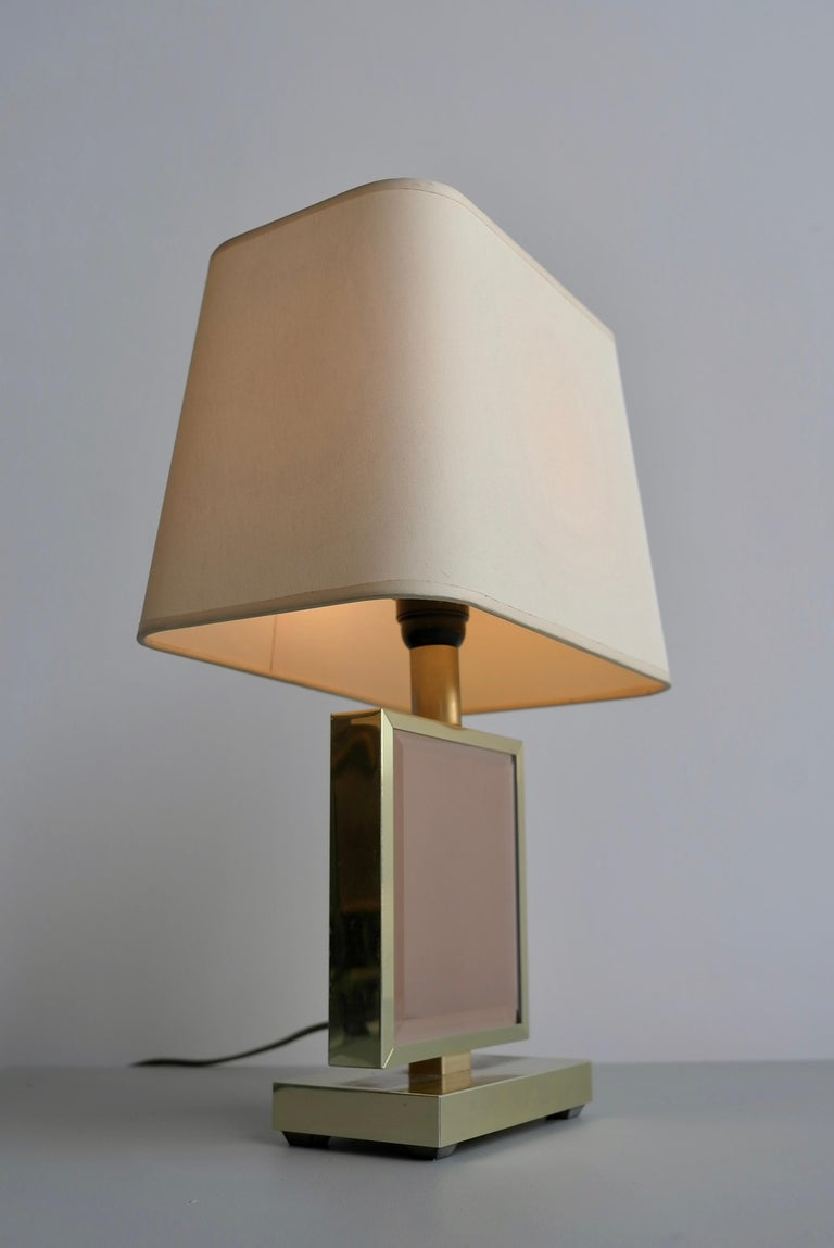 Table Lamp in Brass and Pink Glass, France, 1970s 3