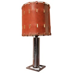 Table Lamp in Chromed Steel with Lampshade in Brown Leather, from 1970, Italy