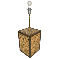Table Lamp in Cork and Brass, Italy, 1970s