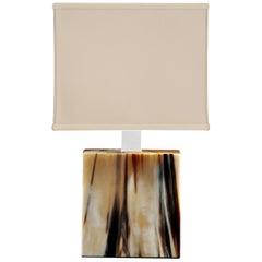 Table Lamp in Corno Italiano and Chromed Brass, Mod. 1258