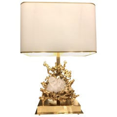 Table Lamp in Gilded Bronze and Rock Crystal, Claude-Victor Boeltz Paris