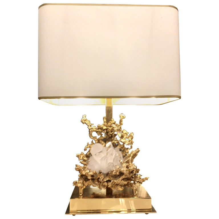 Table Lamp in Gilded Bronze and Rock Crystal, Claude-Victor Boeltz Paris For Sale