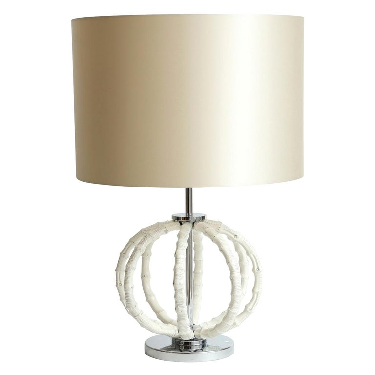 Table Lamp in Natural Bamboo Lacquered in Ivory by Riviere Italy, Made in Italy For Sale