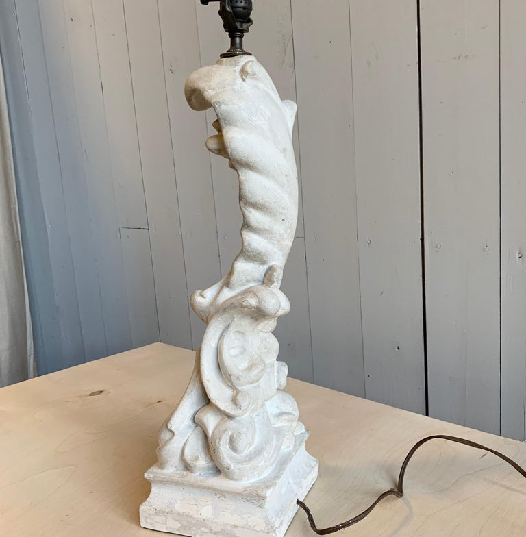 French Table Lamp in Plaster, Serge Roche, 1940s For Sale