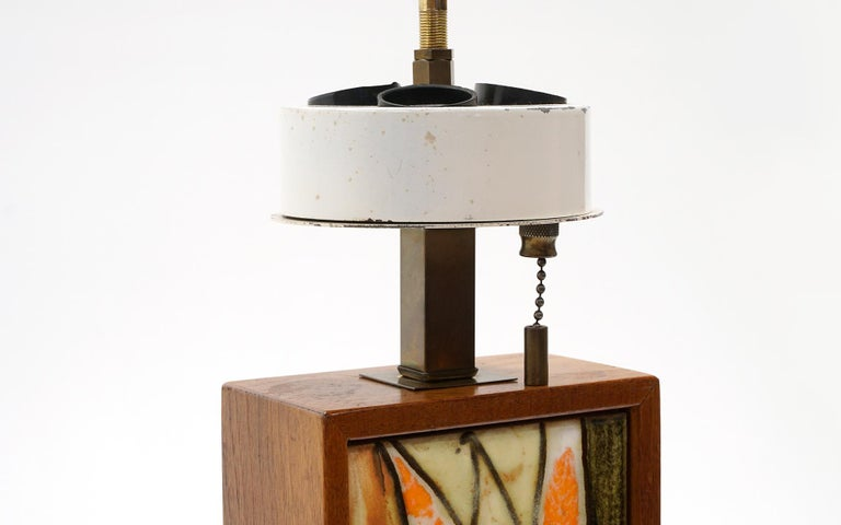 American Table Lamp in Teak and Ceramic Tiles in Orange, Yellow, White by Harris Strong For Sale
