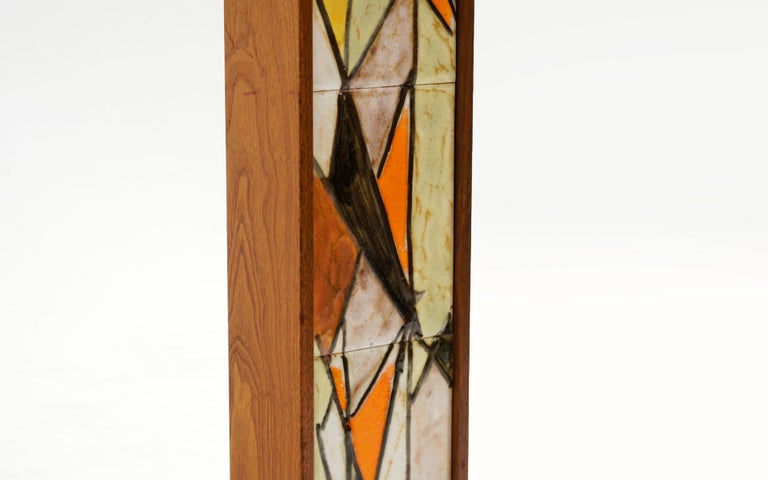 Table Lamp in Teak and Ceramic Tiles in Orange, Yellow, White by Harris Strong In Good Condition For Sale In Kansas City, MO