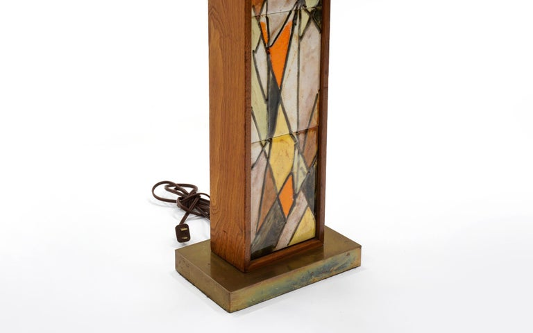 Mid-20th Century Table Lamp in Teak and Ceramic Tiles in Orange, Yellow, White by Harris Strong For Sale