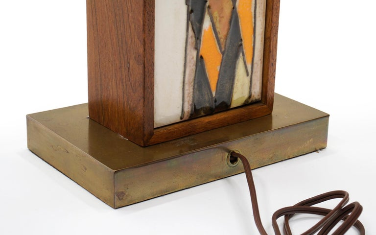 Table Lamp in Teak and Ceramic Tiles in Orange, Yellow, White by Harris Strong For Sale 2