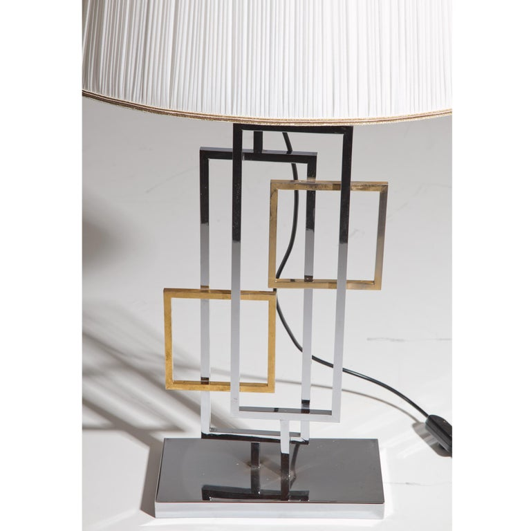 Metal Table Lamp in the Style of Romeo Rega, Italy 1970s For Sale