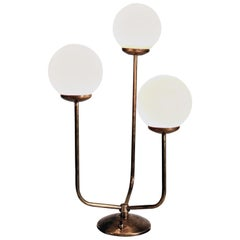 Table Lamp, Italy 1960s, Brass and Opaline Glass