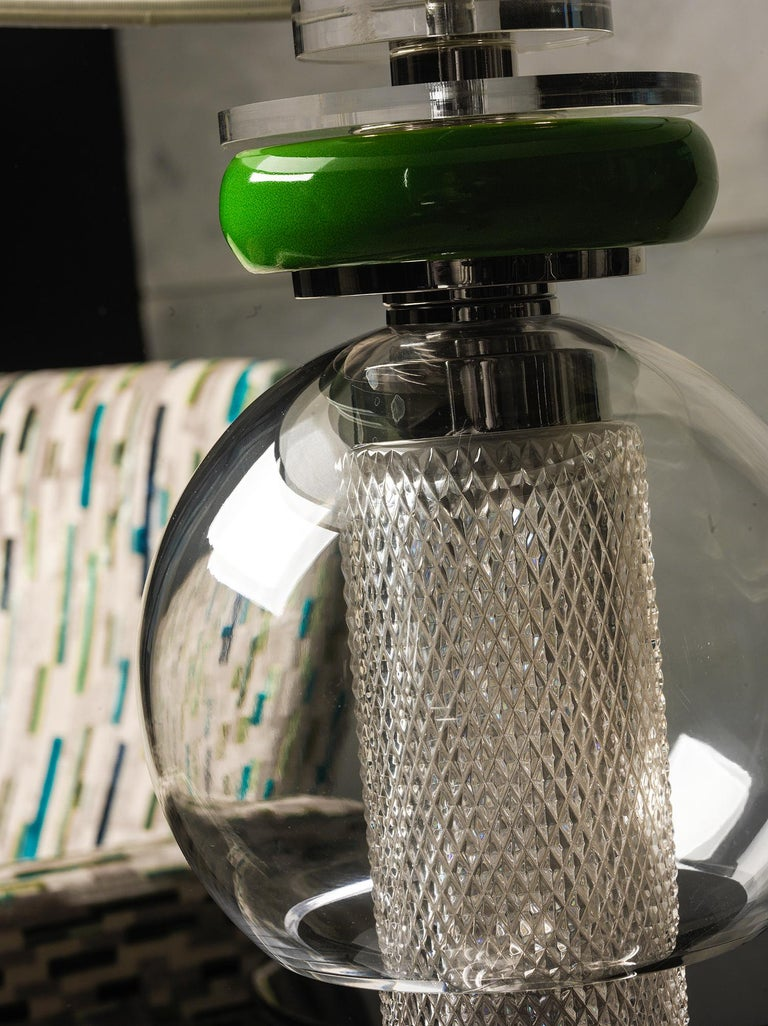Crystal lamp composed with green Majolica, nickel-plated brass and plexiglass. The double lampshade is double, outside in fine silver fabric and inside in green silk.