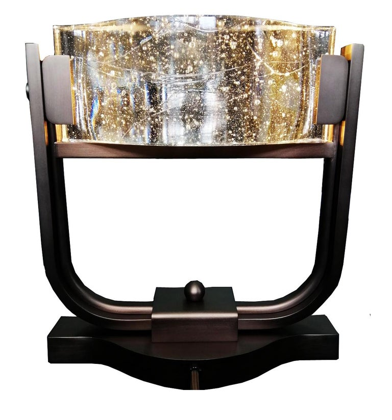 Chinese Table Lamp LED Mid Century Rhythm André Fu Living Bronze Brass Glass New Modern For Sale