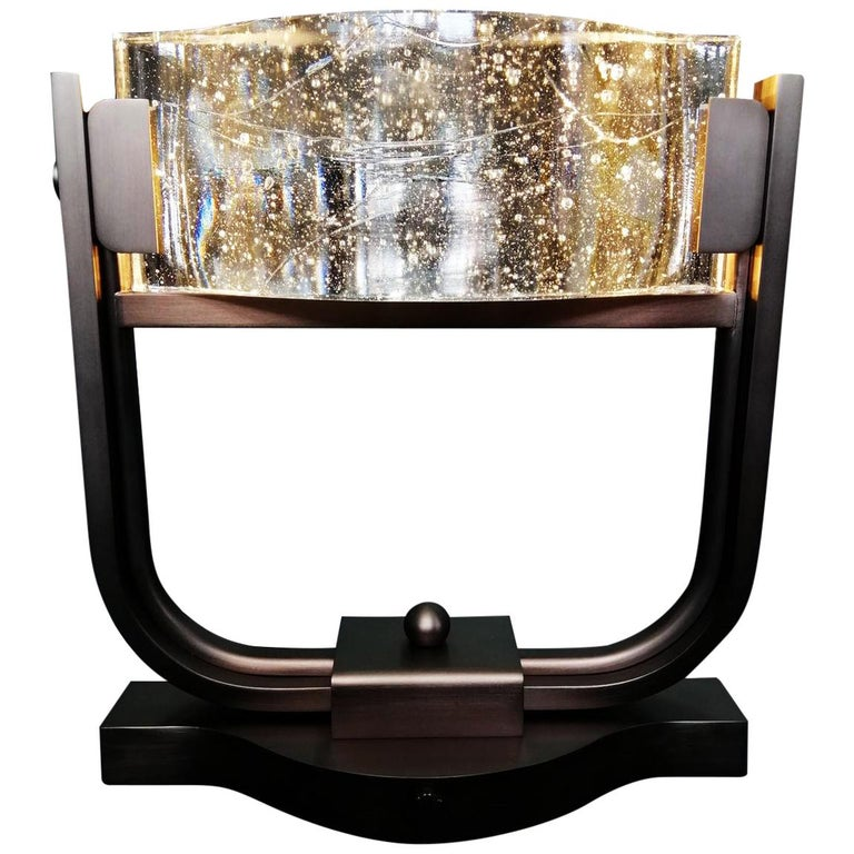 Table Lamp LED Mid Century Rhythm André Fu Living Bronze Brass Glass New Modern For Sale