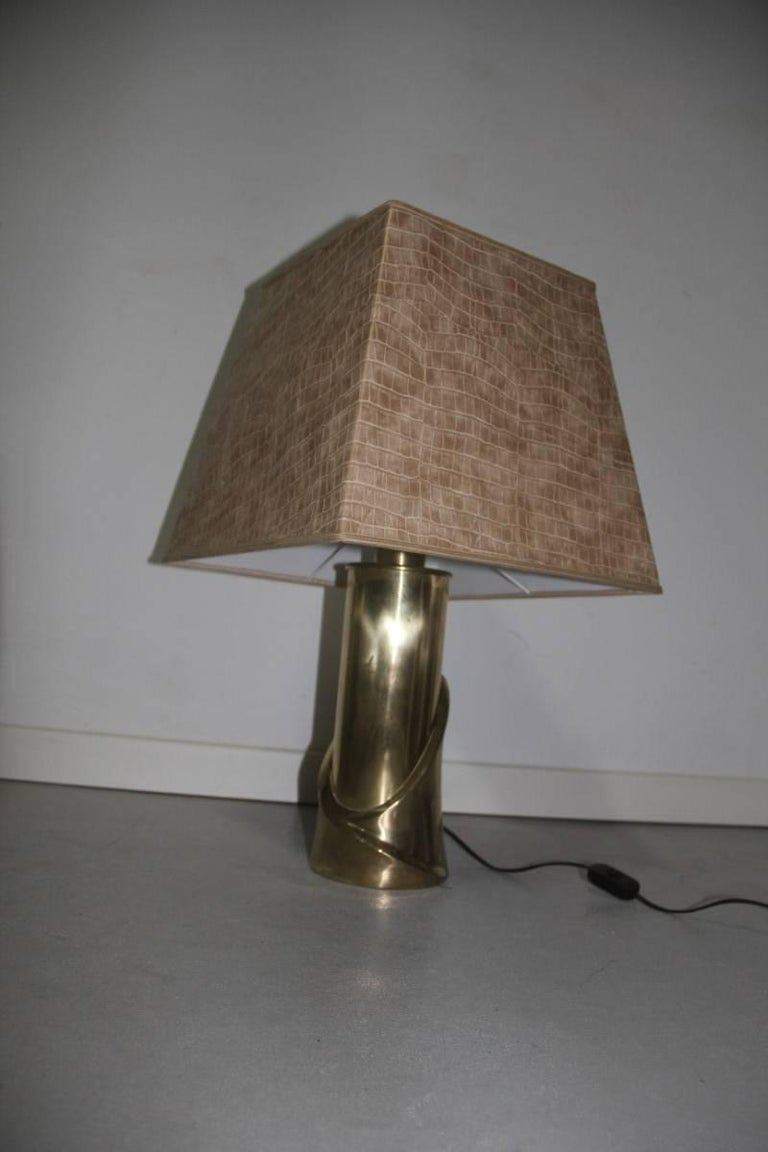 Table Lamp Luciano Frigerio 1970s Scultura Brass Italian Design In Good Condition For Sale In Palermo, Sicily