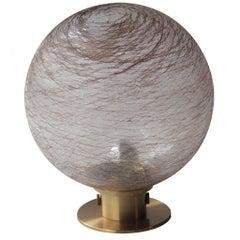 Midcentury Modern Sferic Gold Brass Glass Italian Table Lamp, 1970