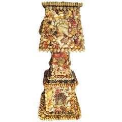 Folk Art Table Lamp Made with Shells, Early20th Century, Spain