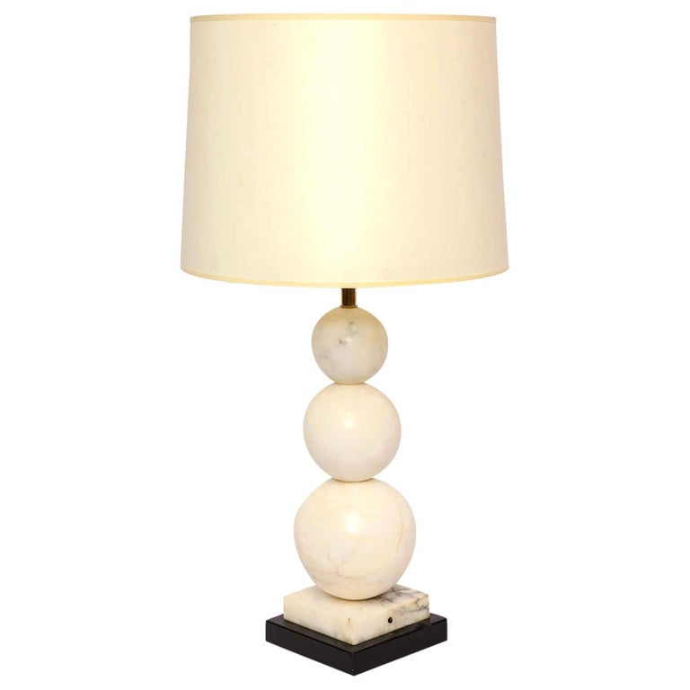 Table Lamp Mid-Century Modern Marble Cubist Spheres, Italy, 1940s For Sale