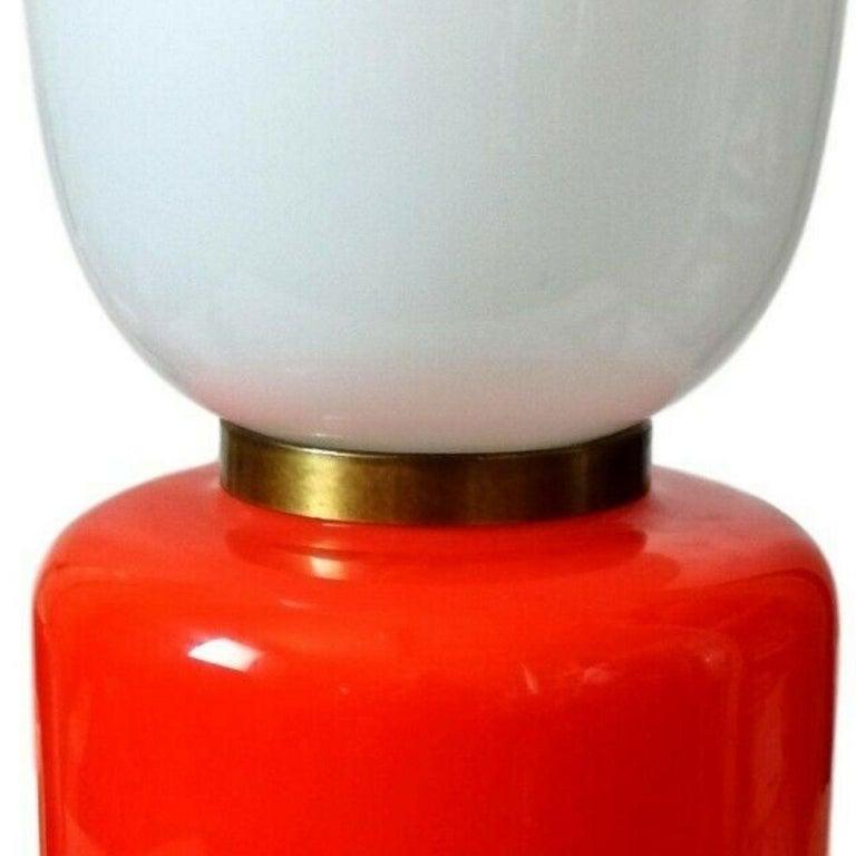 Table Lamp Murano Glass Blown Manufacture Mazzega, 1960s In Good Condition For Sale In taranto, IT