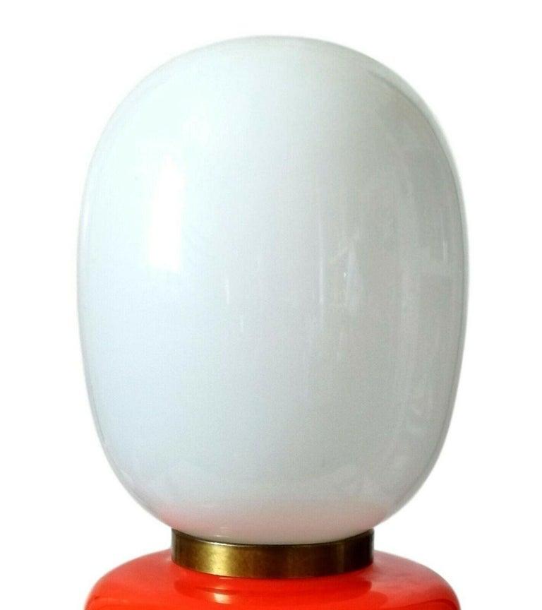 Brass Table Lamp Murano Glass Blown Manufacture Mazzega, 1960s For Sale