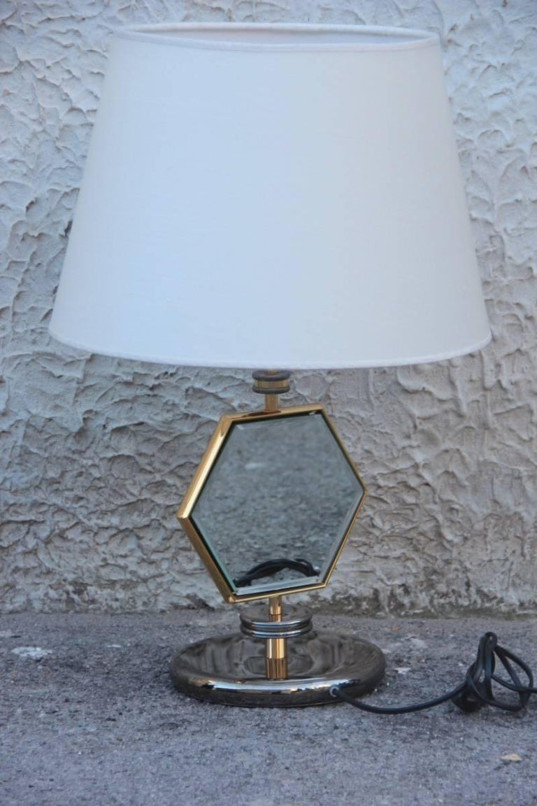 Table Lamp Esagonal  1970s Brass Chrome Fabric Dome Mirror Italian Design  In Excellent Condition For Sale In Palermo, Sicily