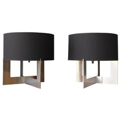 Table Lamp on Steel Base, Italy, 1970s, Pair Available
