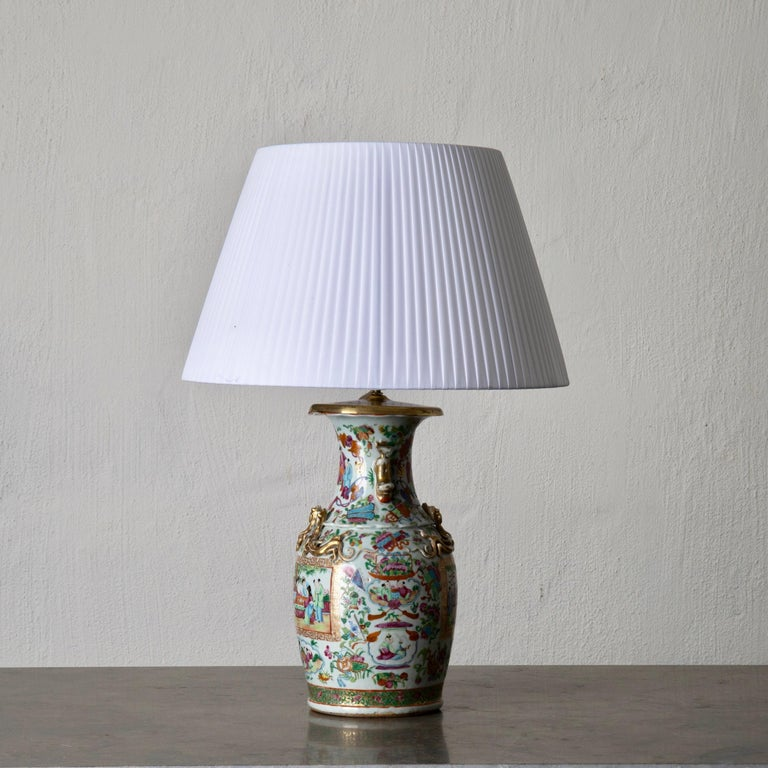 Chinese Export Table Lamp Oriental Colors 19th Century, China For Sale