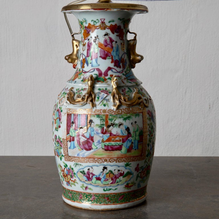Chinese Table Lamp Oriental Colors 19th Century, China For Sale