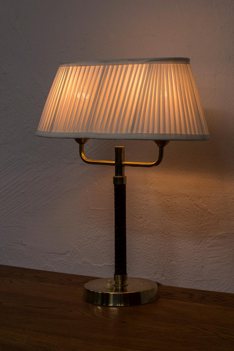 Leather Table Lamp Produced by Karlskrona Lampfabrik in Sweden, 1940s-1950s For Sale