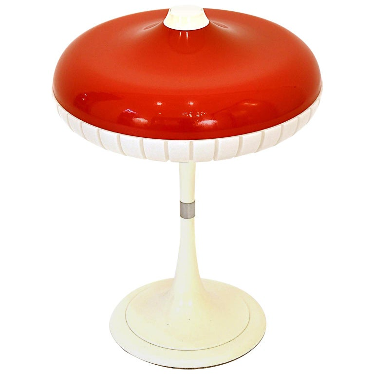 Table Lamp Red x White Space Age 1960s by Siemens, Germany For Sale