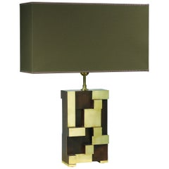 Table Lamp Step in Brown Oakwood and Brass